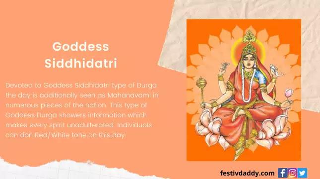 Goddess Siddhidatri Nine Day of Navratri Colors