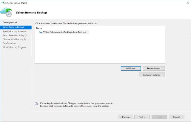Select Items to Backup