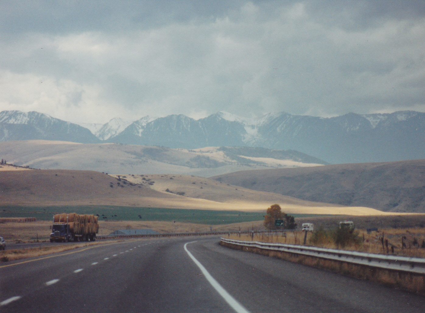 I-90 - Eastern Montana - 1994. A great load of hay - that was a lucky sign.  Our trip there was wonderful.