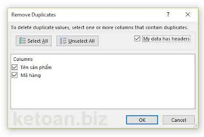 Remove Duplicates: lượt bỏ nhanh giá trị trùng lặp trong excel5