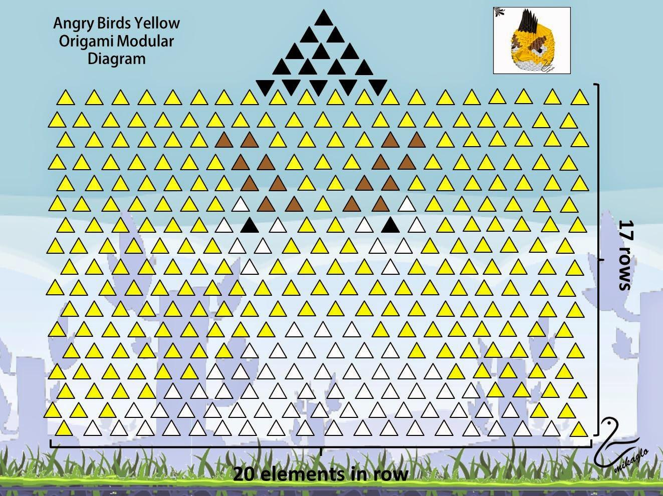 3d Origami Diagram Animals King Kutter Finish Mower Parts Mikaglo 39 Żółty Angry Birds Z Wzór