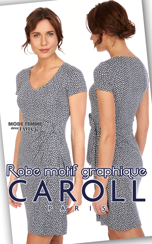 Robe courte marine et blanc motif graphique CAROLL