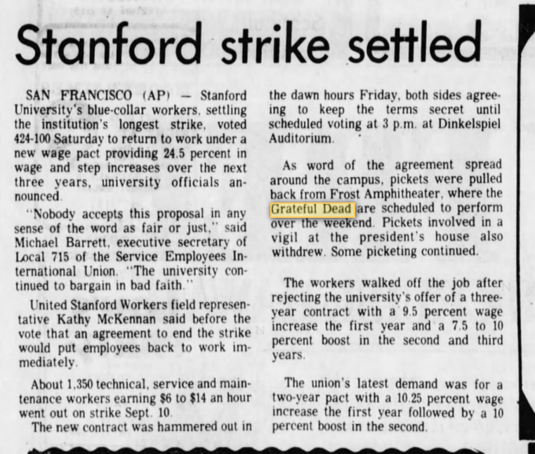 Grateful Seconds : Best Weekend of 1982: Stanford Frost October 9 ...