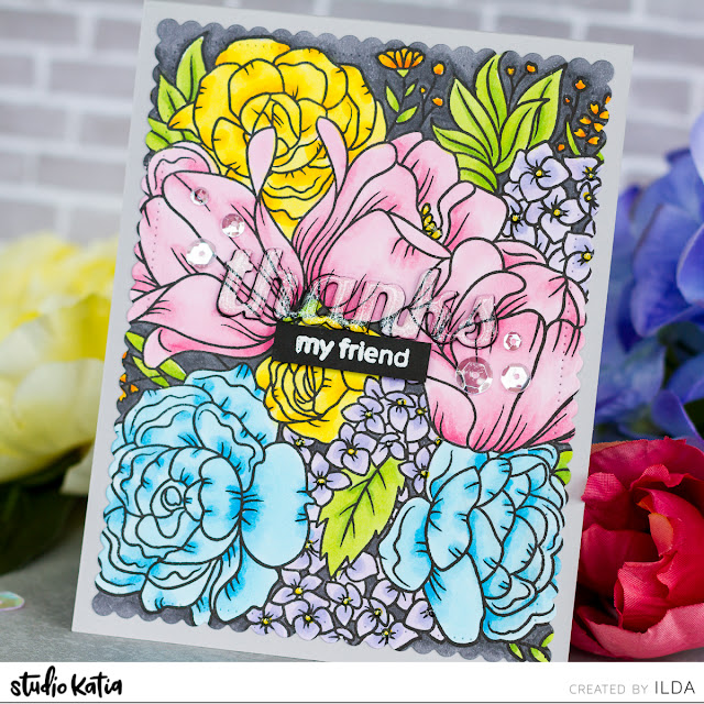 Floral Garden Thank You Friendship Card for Studio Katia by ilovedoingallthingscrafty.com