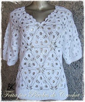 Crochet blouse with triangles - free instructions