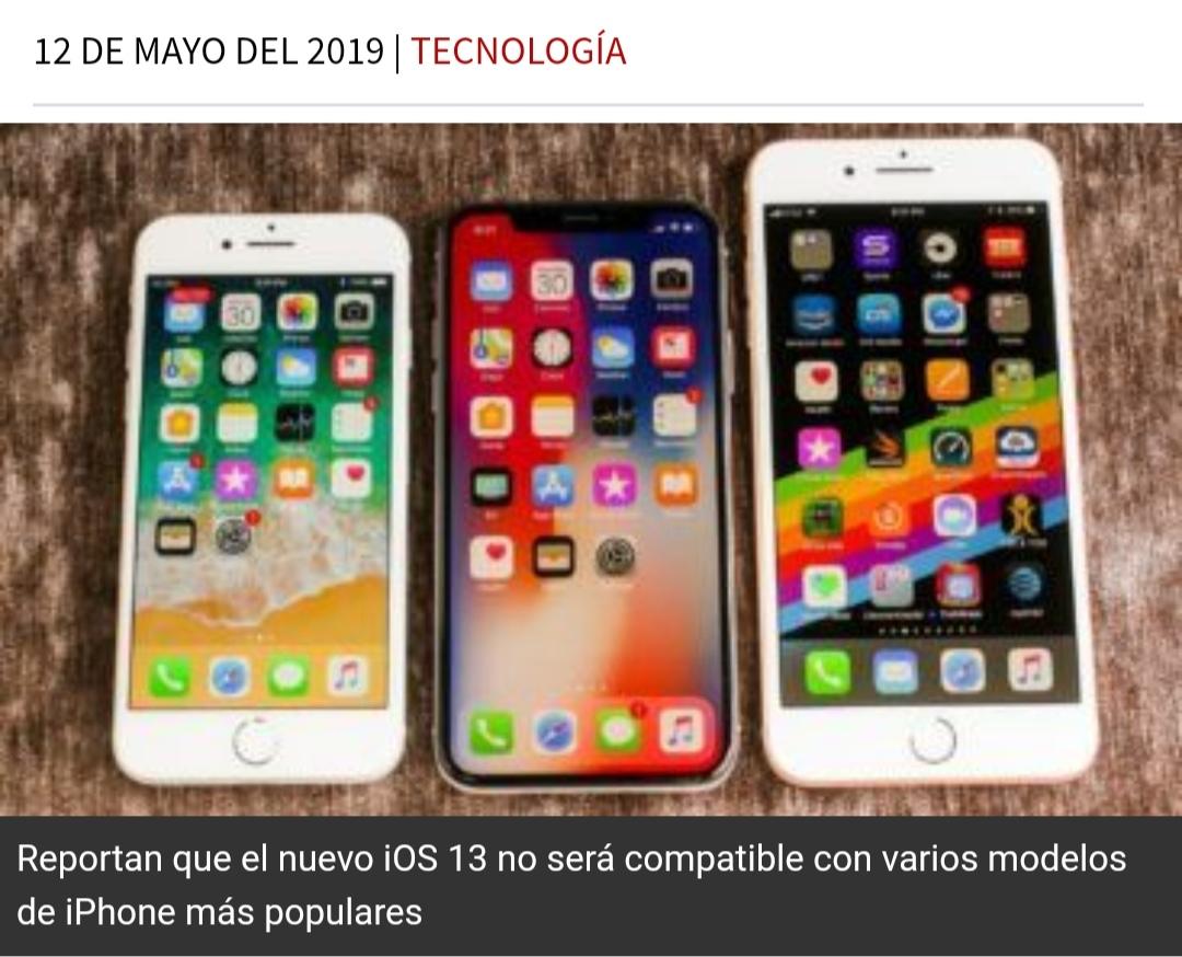 3ca6a59ba7f Reportan que el nuevo iOS 13 no será compatible con varios modelos de iPhone  más populares - Noticias Sin Limites