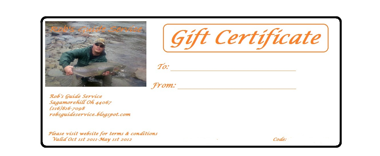 Rob 39 s guide service gift certificates now available for Ohio out of state fishing license