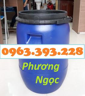 Thùng phuy nhựa nắp mở 50L, thùng phuy đựng hóa chất, thùng phuy 50 Lít