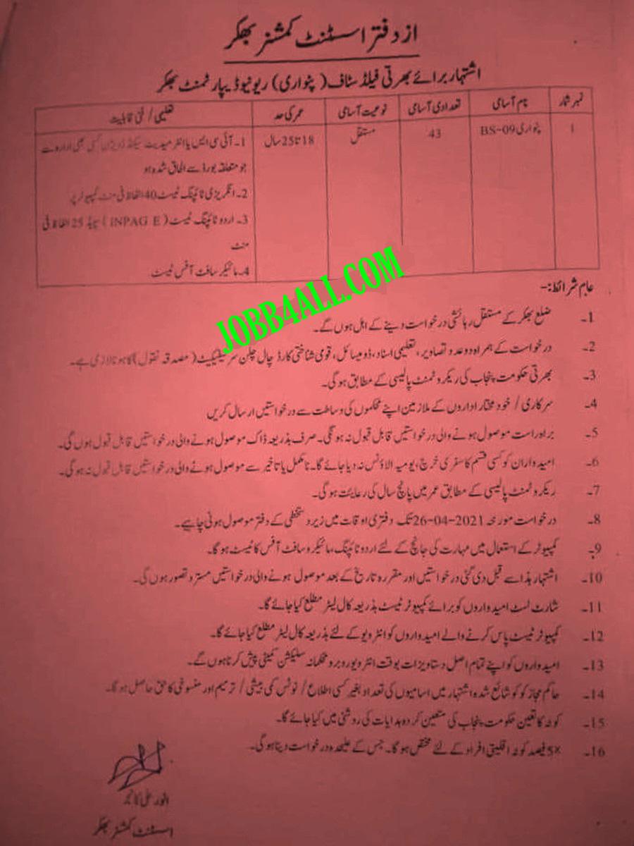 Patwari Jobs 2021 AC Office Bhakkar in Pakistan
