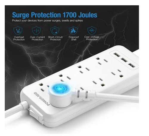 POWERADD Surge Protector 8 Outlets 3 USB Charging Ports