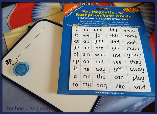 Learning to read and write with the magnetic board and letters