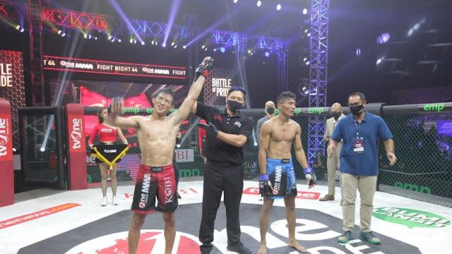 Akhirnya Putra Nyiur Melambai itu pun Berhasil Merebut Sabuk Juara Nasional Interim Bantamweight One Pride MMA
