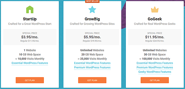 SiteGround WordPress Website Hosting Plans