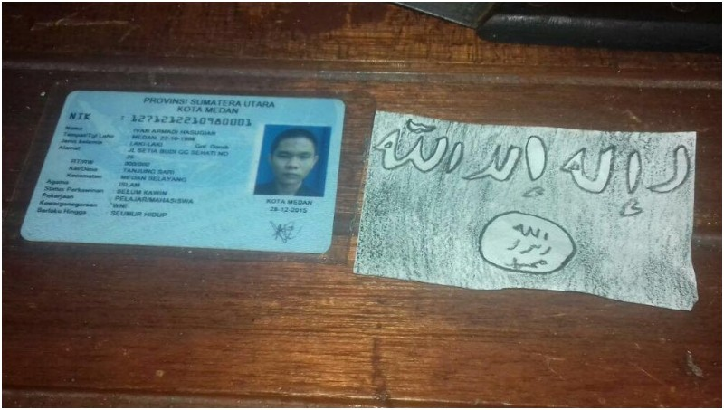 KTP dan lambang ISIS milik pelaku