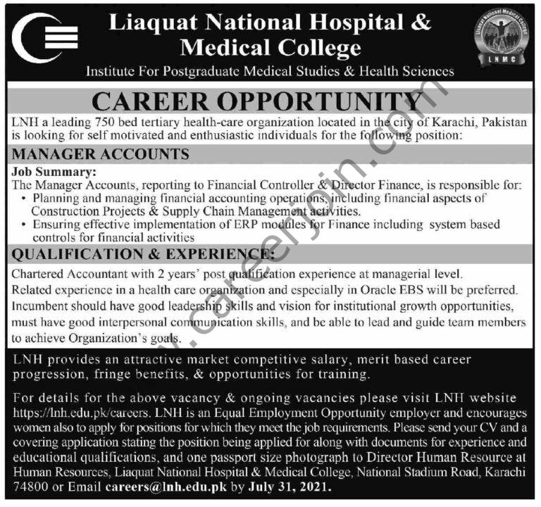 lnh.edu.pk Jobs 2021 - Liaquat National Hospital Medical College LNH Jobs 2021 in Pakistan