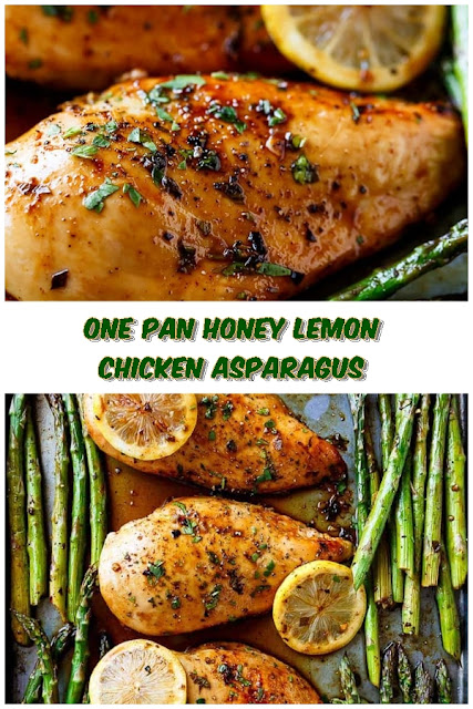 #One #Pan #Honey #Lemon #Chicken #Asparagus #crockpotrecipes #chickenbreastrecipes #easychickenrecipes #souprecipes