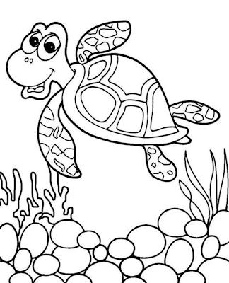 Gambar sketsa kura-kura di Laut