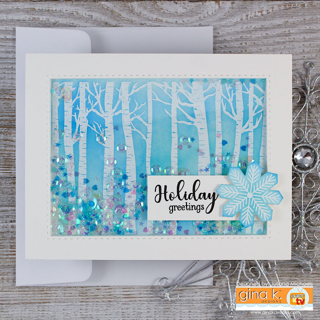 Winter Birch Trees Holiday Shaker Card with Embossing and Distress Ink by Juliana Michaels. Stamp set is Warmer With You by Gina K Designs for Simon Says Stamp Stamptember.