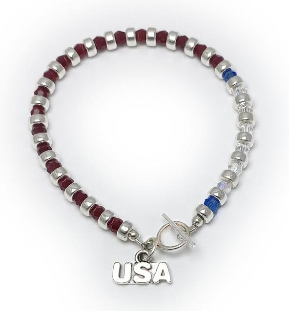 Red White & Blue USA Charm Bracelet