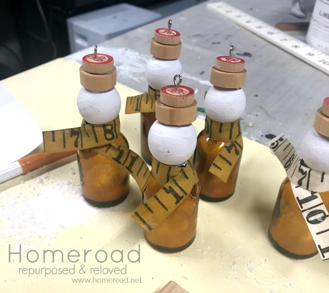 DIY Bottle Snowman Ornaments