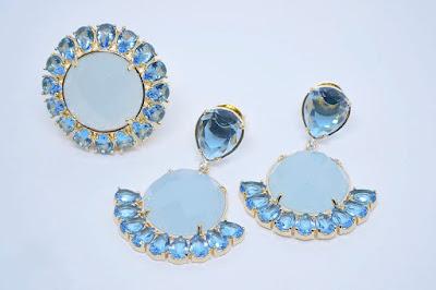 Conjunto Brinco Anel Cristal Leitoso Azul Semi Joia