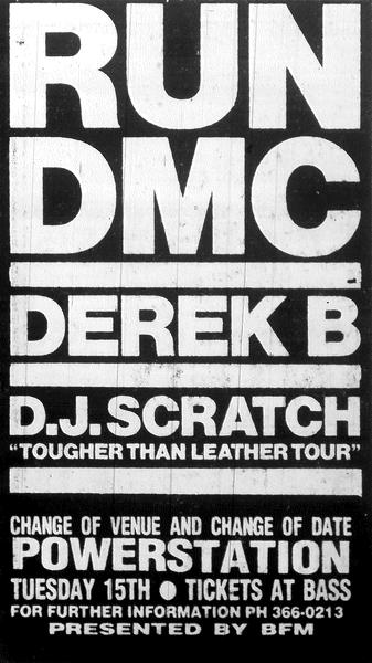 Run DMC concert poster for Auckland show, 15 Nov 1988