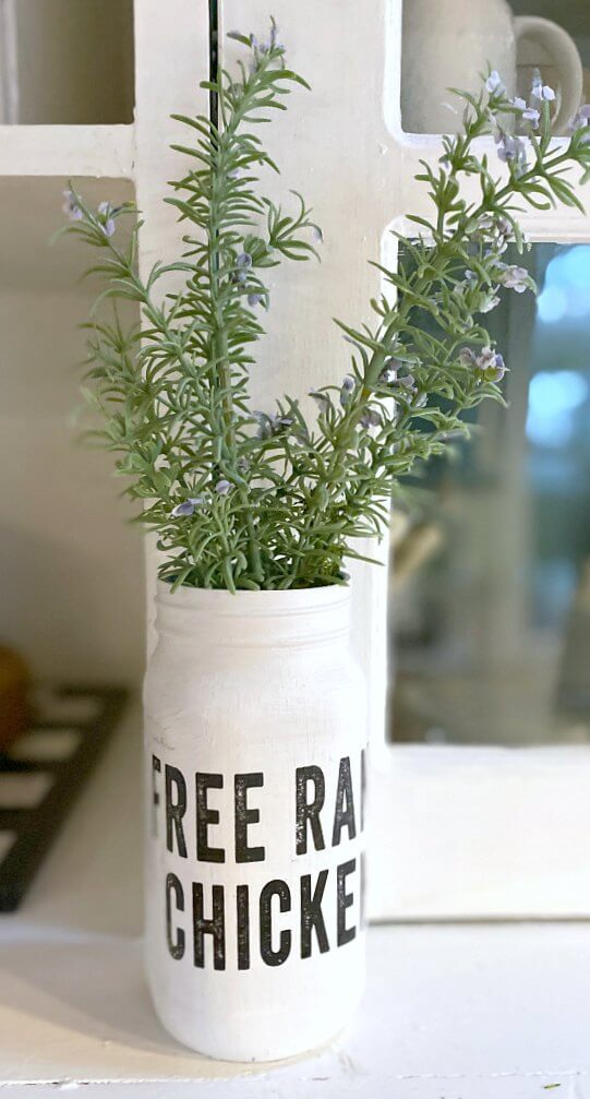 Mason Jar for the Kitchen with a Farmhouse Transfer