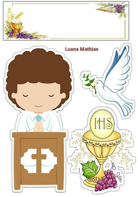 Boy Doing His First Communion: Free Printable Cake Toppers
