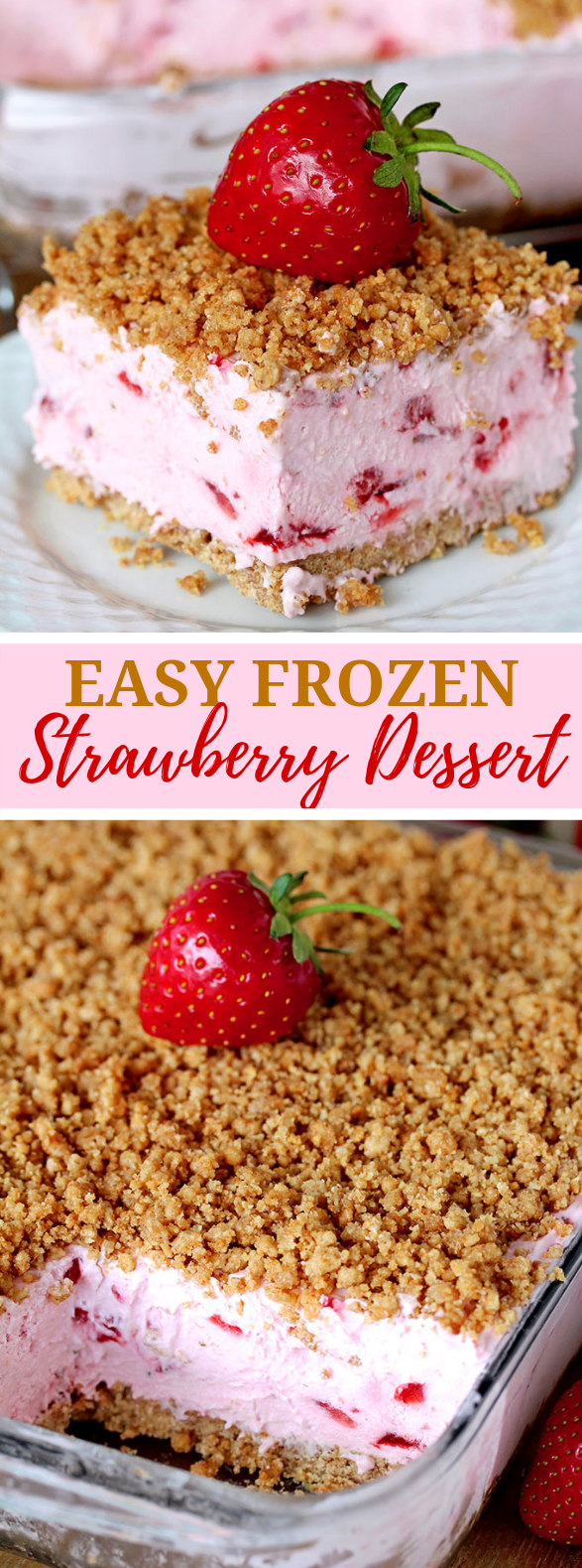EASY FROZEN STRAWBERRY DESSERT #cake #vegetarian