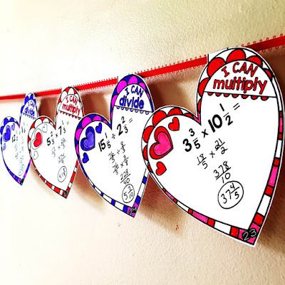 Multiplying and dividing mixed numbers Valentine's Day hearts math pennants