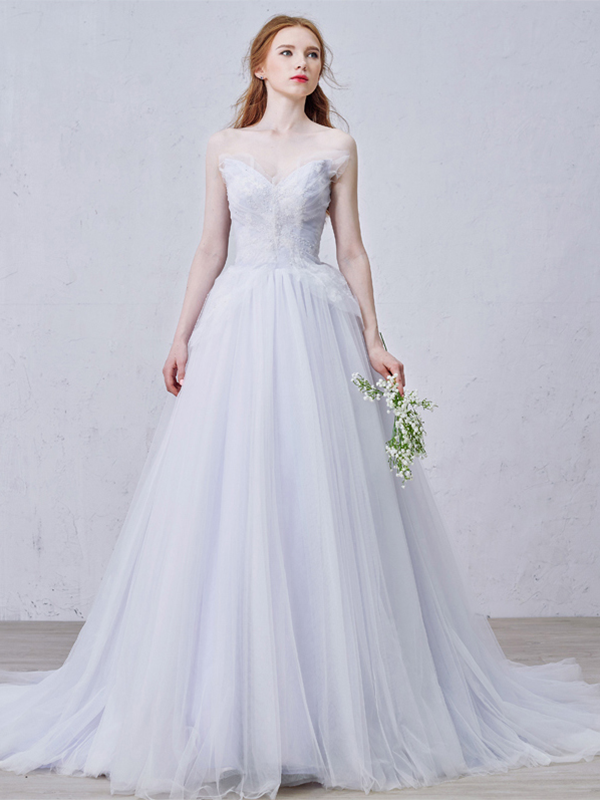 Modern Sweetheart Floor-Length A-Line Court Train Wedding Dress