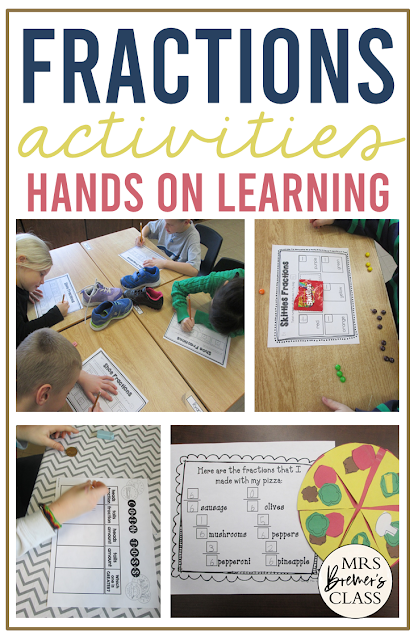 Fractions math activities and ideas for hands on learning and practice in First Grade and Second Grade