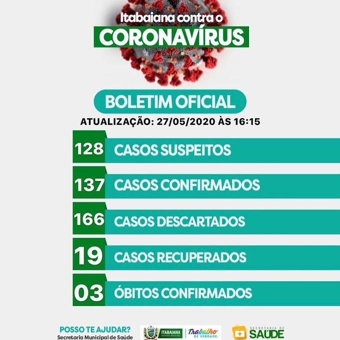 BOLETIM CORONA-VÍRUS (Itabaiana): Fique informado sobre atualizações em sua cidade. (27/05/2020).