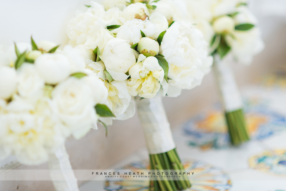 Wedding bouquets white peonies