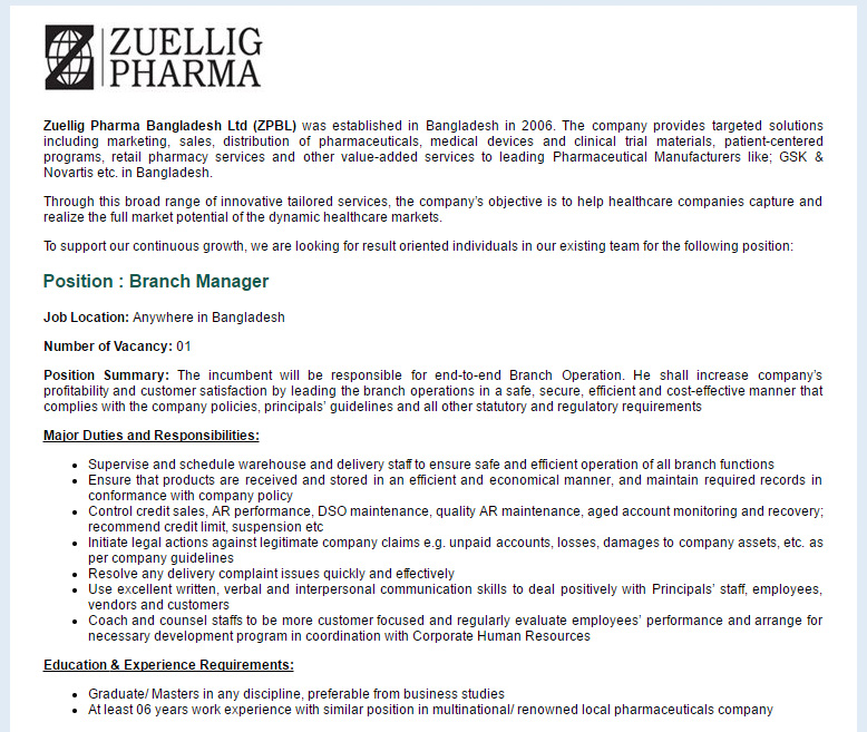 Zuellig Pharma Bangladesh Ltd (ZPBL) - Position: Branch Manager