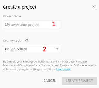 create a project firebase