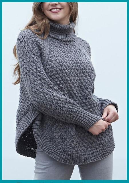 ponczo na drutach ze wzorem