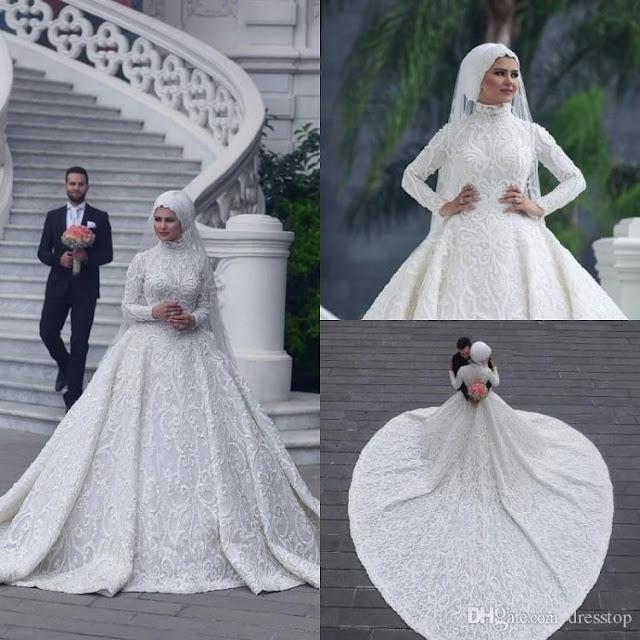 فستان زفاف للمحجبات واسع من الاسفل بتصميم عصري موديل 2020