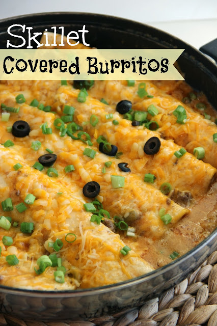 Skillet Covered Burritos - An easy and  delicious one pot weeknight dinner idea!