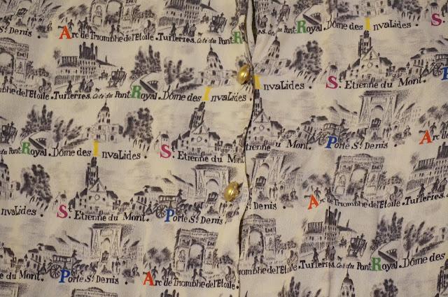 chemise imprimé Paris   Paris novelty pattern blouse vintage