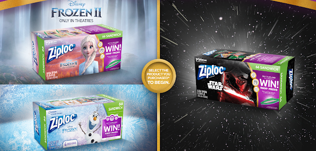 Ziplock wants you to enter to win a Frozen, Frozen II or Star Wars themed family vacation Walt Disney World or one of over 6000 weekly prizes!