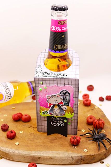 Halloween Beverage bottle tag by Ellen Haxelmans | Count Newton Stamp Set by Newton's Nook Designs #newtonsnook #handmade