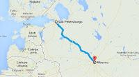 Trayecto Moscú- San Petersburgo