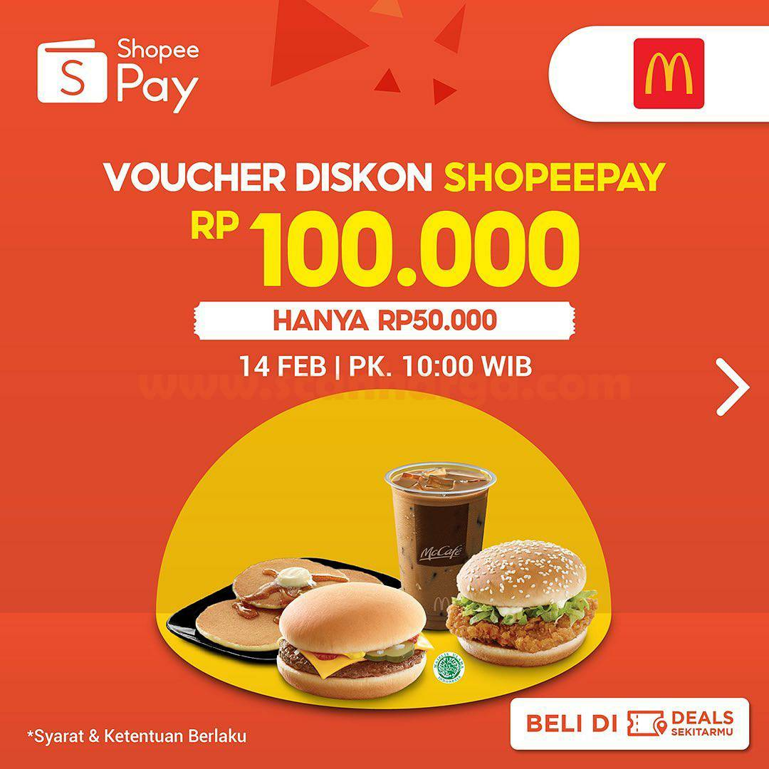 McDonalds Promo Voucher Diskon ShopeePay Rp 100.000 harga hanya Rp 50.000