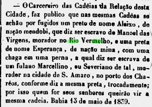 Dono de escravo morador do Rio Vermelho convocado pelo carcereiro