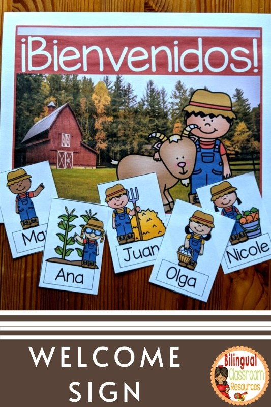 Banners, Welcome Sign, Name tags in Spanish l Banderines l Editable l Farm