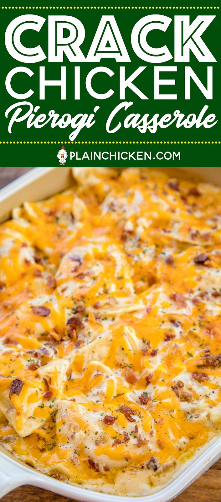 Crack Chicken Pierogi Casserole - CRAZY good!! Frozen pierogies tossed in alfredo sauce, ranch dressing mix, bacon, cheddar and chicken. Can make ahead and refrigerate or freeze for later. Everybody cleaned their plate and asked for seconds!! Weeknight dinner success!! #casserole #chicken #chickencasserole #bacon