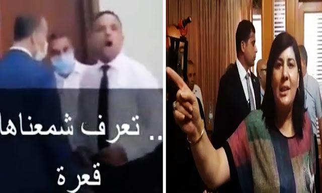 """يحدث في تونس:  بالفيديو ... صادم سيف مخلوف يهاجم عبير موسي :"""" يا قعرة يا عرّة النساء ... تفوه عليك """"!!"""