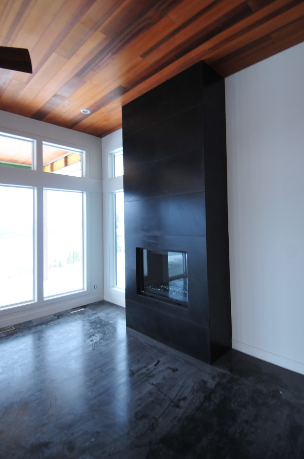 Mode Concrete Create A Major Design Impact Contemporary Floor To Ceiling Black Concrete Tiled Fireplace