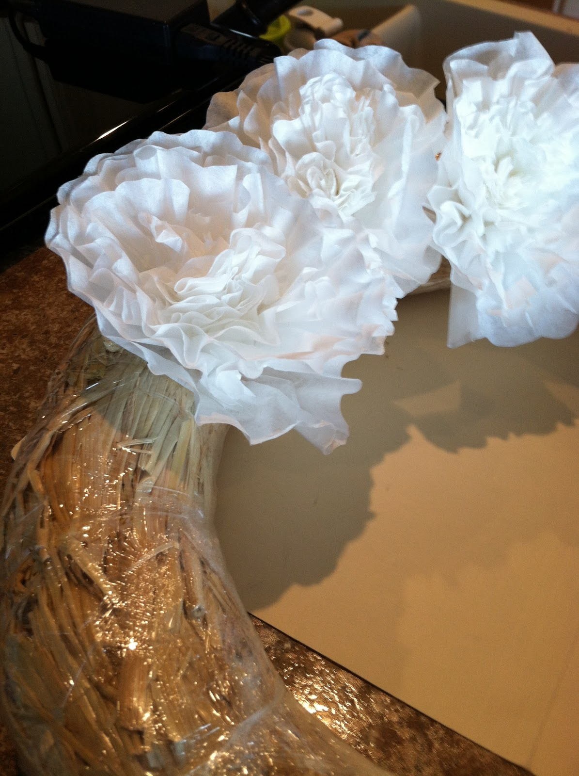 Natural Homemade Living Shabby Chic Coffee Filter Wreath